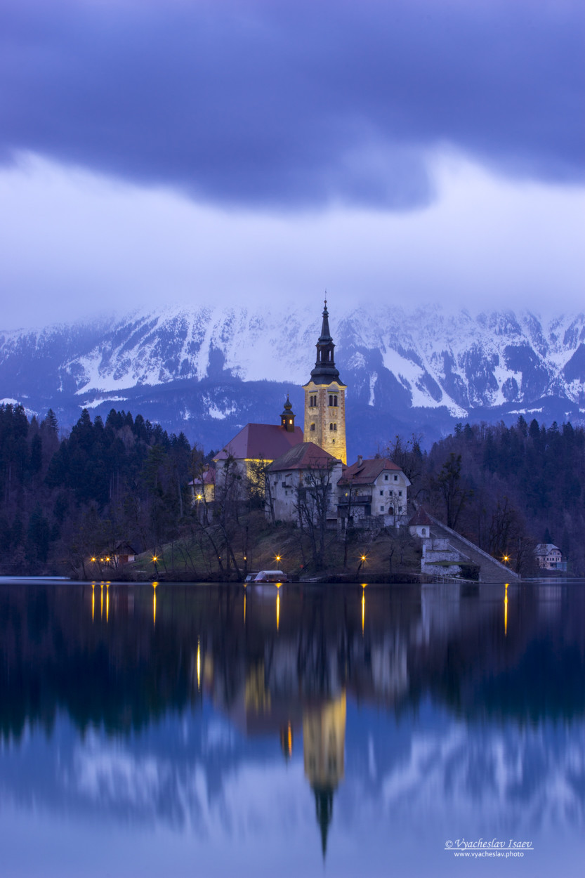 Church on the island of Bled lake (Slovenia)